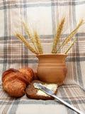Breakfast. With croassaint & black bread Stock Photo