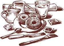Breakfast. Vector drawing of a still life with breakfast served Stock Images