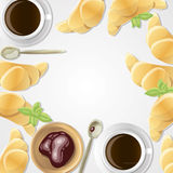 Breakfast. Vector background with food and coffee for card and invitation Royalty Free Stock Photography