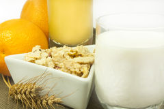 Breakfast. Milk oranges orange juice and cereals Stock Image