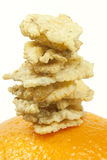 Breakfast. Series of cereals stacked on a orange Royalty Free Stock Photo
