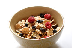 Breakfast. Morning breakfast with blueberries and raspberries Royalty Free Stock Images
