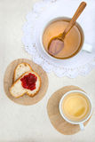 Breakfast. Tea and Bread with Strawberry Jam Royalty Free Stock Images