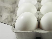 Before breakfast. Carton of a dozen eggs with focus on front left corner of carton royalty free stock image