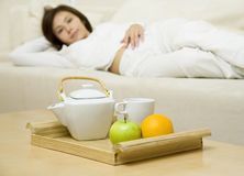 Breakfast. Young woman is waiting for breakfast 3 Royalty Free Stock Image