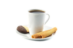Breakfast. Cup of coffee (tea) and cookies isolated on white Royalty Free Stock Images