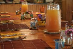 Breakfast. Table set ready royalty free stock image