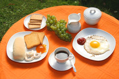 Breakfast. With various ingredients on the table Royalty Free Stock Image