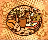 Breakfast. Hand drawn Breakfast, food illustration Royalty Free Stock Images