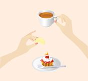 Breakfast. Nice image with coffee and cake Stock Photography