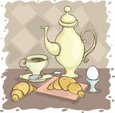 Breakfast. Still-life with a coffee pot and egg Stock Image