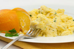 Breakfast. Simple Breakfast Of Scrambled Eggs With Fruit Stock Photography