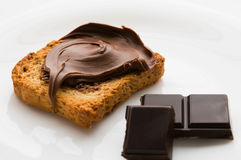 Breakfast. With toast and chocolate cream Stock Photography