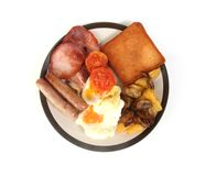 Breakfast. Isolated plate of breakfast on white background royalty free stock photo