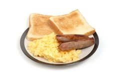 Breakfast. Isolated plate of breakfast on white background royalty free stock photography
