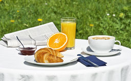 Breakfast. In the garden at springtime Royalty Free Stock Images