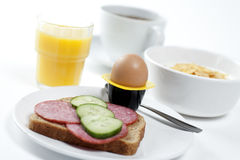 Breakfast. High key studio shot of a healthy breakfast. Shallow depth of field Royalty Free Stock Photo
