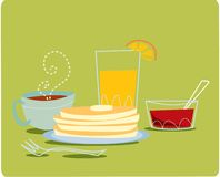 Breakfast. Set: orange juice, pancakes, jam and coffee Royalty Free Stock Photography