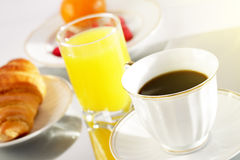 Breakfast. A Cup Of Coffee And Croissant Stock Image