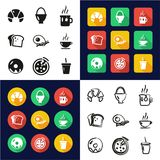 Breakfast All in One Icons Black & White Color Flat Design Freehand Set Royalty Free Stock Photo