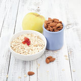 Breakfast with apple, oat and almond with cup of tea Stock Image