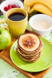 Breakfast with apple pancakes Royalty Free Stock Photo