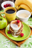 Breakfast with apple pancakes Royalty Free Stock Images