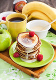 Breakfast with apple pancakes Stock Photos