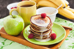 Breakfast with apple pancakes Royalty Free Stock Image