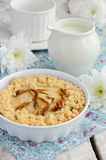 Breakfast with apple pie and flowers Stock Photography