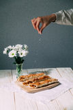 Breakfast. Apple pie with flowers. Yekaterinburg royalty free stock photography