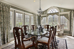 Breakfast area with wall of windows Stock Images