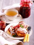 Breakfast arrangement: farmer`s cheese pancakes Royalty Free Stock Photography