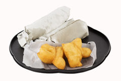 Breakfast Asian Style deep fried dough stick and Roti flat bread Royalty Free Stock Photography