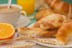 Breakfast with assortment of pastries stock image