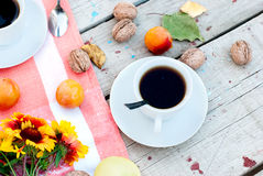 Free Breakfast Autumn Afternoon Tea, Nuts, Apples And Plums Stock Image - 57275451