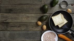 Breakfast with avocado Weight loss diet The wood stock photo