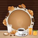 Breakfast background with coffee . Royalty Free Stock Photography
