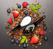 Breakfast background. Granola, berries and honey. top view. Granola with strawberries, raspberries and blueberries, honey and milk Royalty Free Stock Image