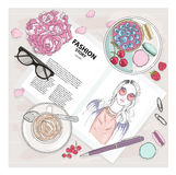 Breakfast background with magazine, coffee, macaroons, flower Stock Images