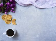Breakfast background on rustic background royalty free stock images