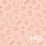 Breakfast Background. Seamless Pattern With Line Icons of Food Like Sausage, Bread, Croissant, Bacon, Muffins, Coffee, Milk etc. Stock Image