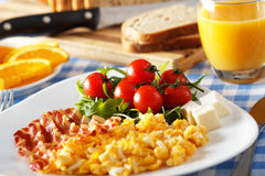Breakfast with Bacon and Eggs. And cherry tomato Stock Photography