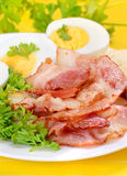 Breakfast with bacon and eggs Royalty Free Stock Images