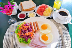 Breakfast with bacon fried egg and orange juice Royalty Free Stock Photography