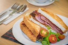 Breakfast bacon sandwich with salad Stock Photo