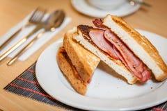 Breakfast bacon sandwich Royalty Free Stock Images