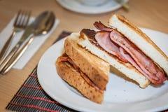 Breakfast bacon sandwich Stock Photos