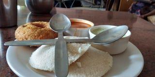 Breakfast bad good food good health stock photos