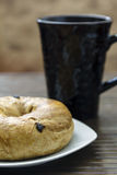 Breakfast Bagel with coffee Stock Photo
